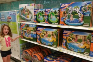 Target Aisle with pools for the family