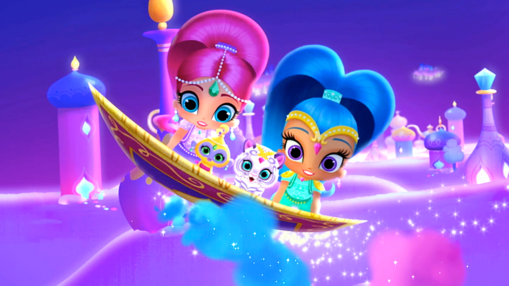 Shimmer and Shine on their magic carpet