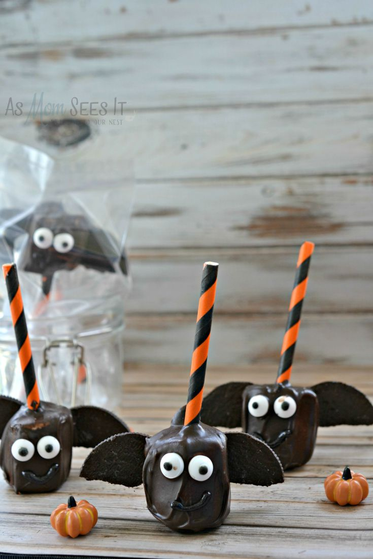 Chocolate coated marshmallow bat pops