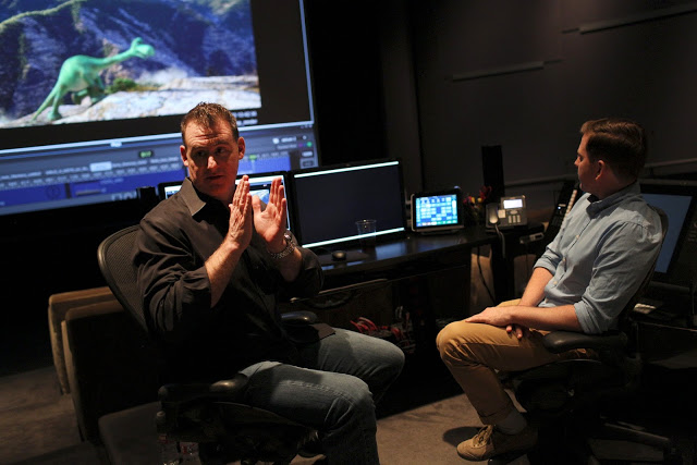 The Good Dinosaur Animator Kevin O'Hara and Directing Animator Rob Thompson at Pixar Studios. Photo by: Deborah Coleman. ©2015 Disney•Pixar. All Rights Reserved.
