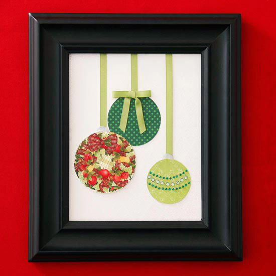 Frame your old Christmas cards for a pop of color