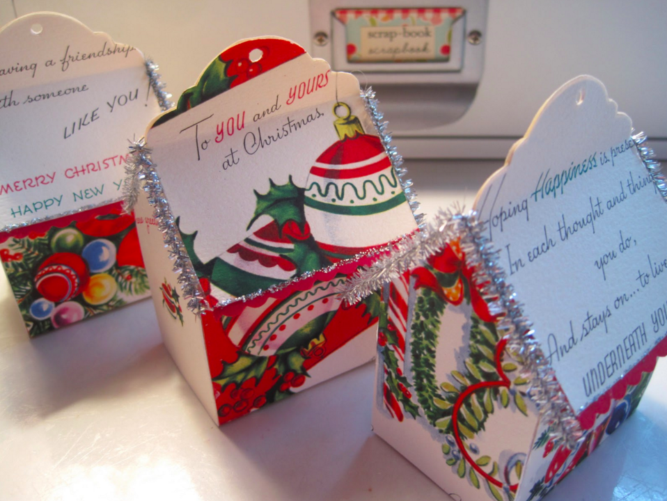 Use old holiday cards to make a little house