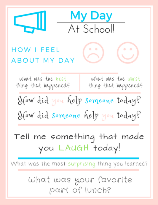 Question kids about their day at school