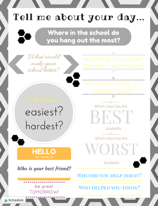 Question teens about their day at school