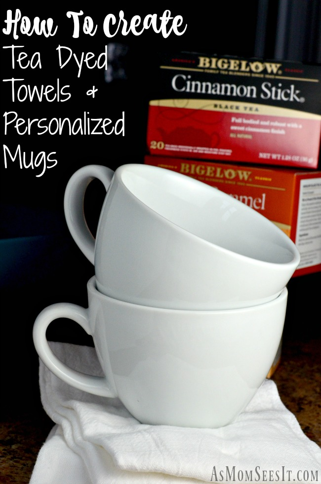 DIY Tea Dyed Towels and coffee mugs with Bigelow Tea
