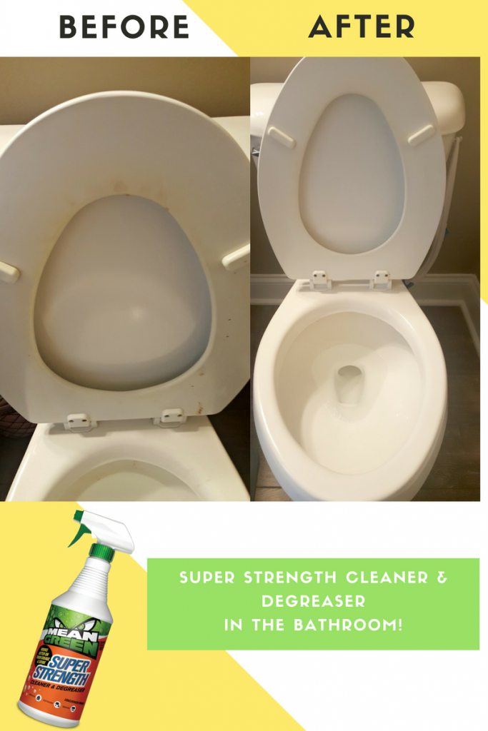 Cleaning toilets with Mean Green Cleaner & Degreaser is a breeze