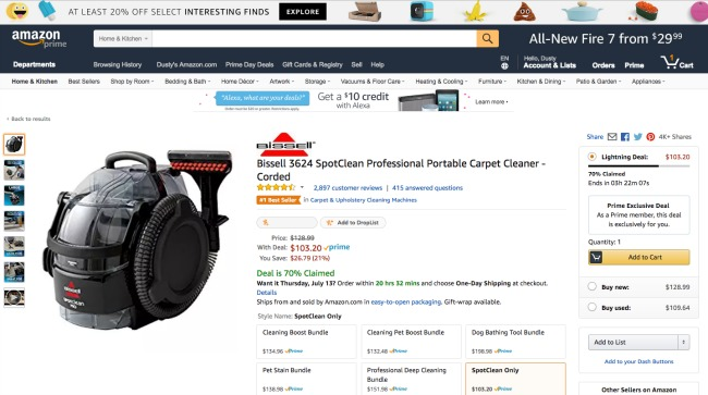 Checking on this Amazon deal for a Bissell spot cleaner
