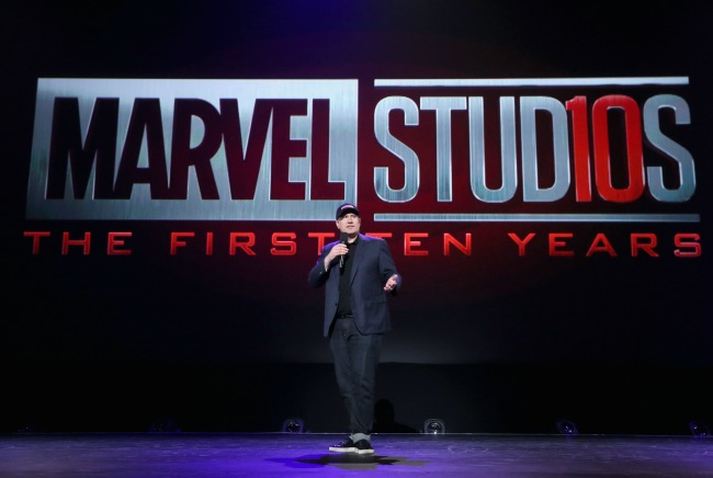 The new Marvel Studios 10th Anniversary Logo, presented by Kevin Feige.