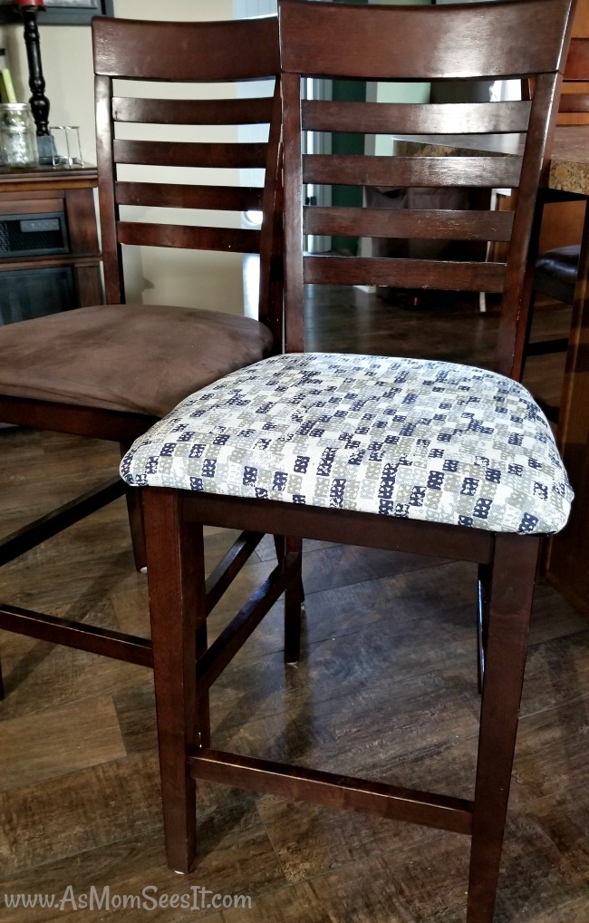 Looking at the stools side by side, there's a huge difference in the reupholstery