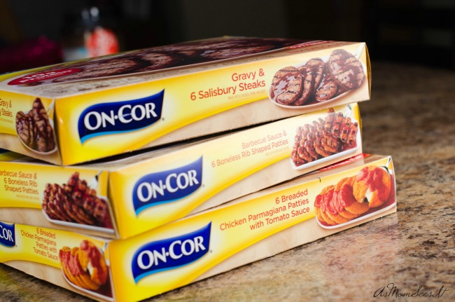You can easily find On-Cor entrees in the freezer section at Walmart or Krogers for a quick weeknight meal