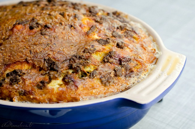 Egg, sausage, and hash brown casserole for breakfast, brunch, or dinner