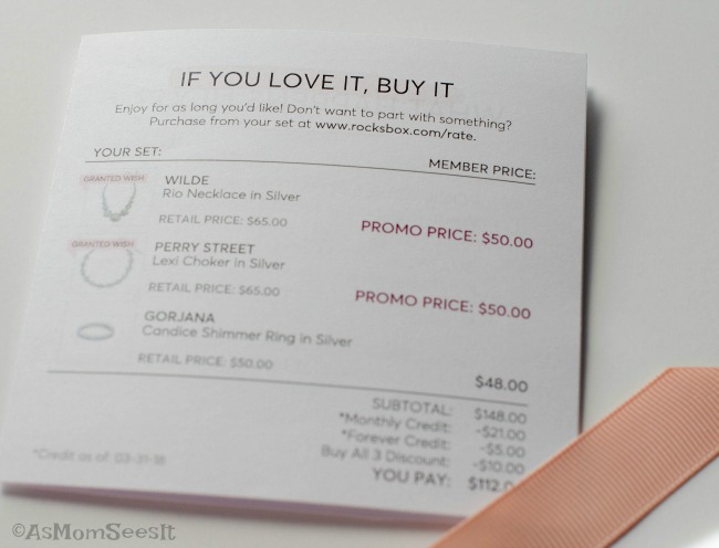 How much it costs for a Rocksbox jewelry subscription and what was in my April box