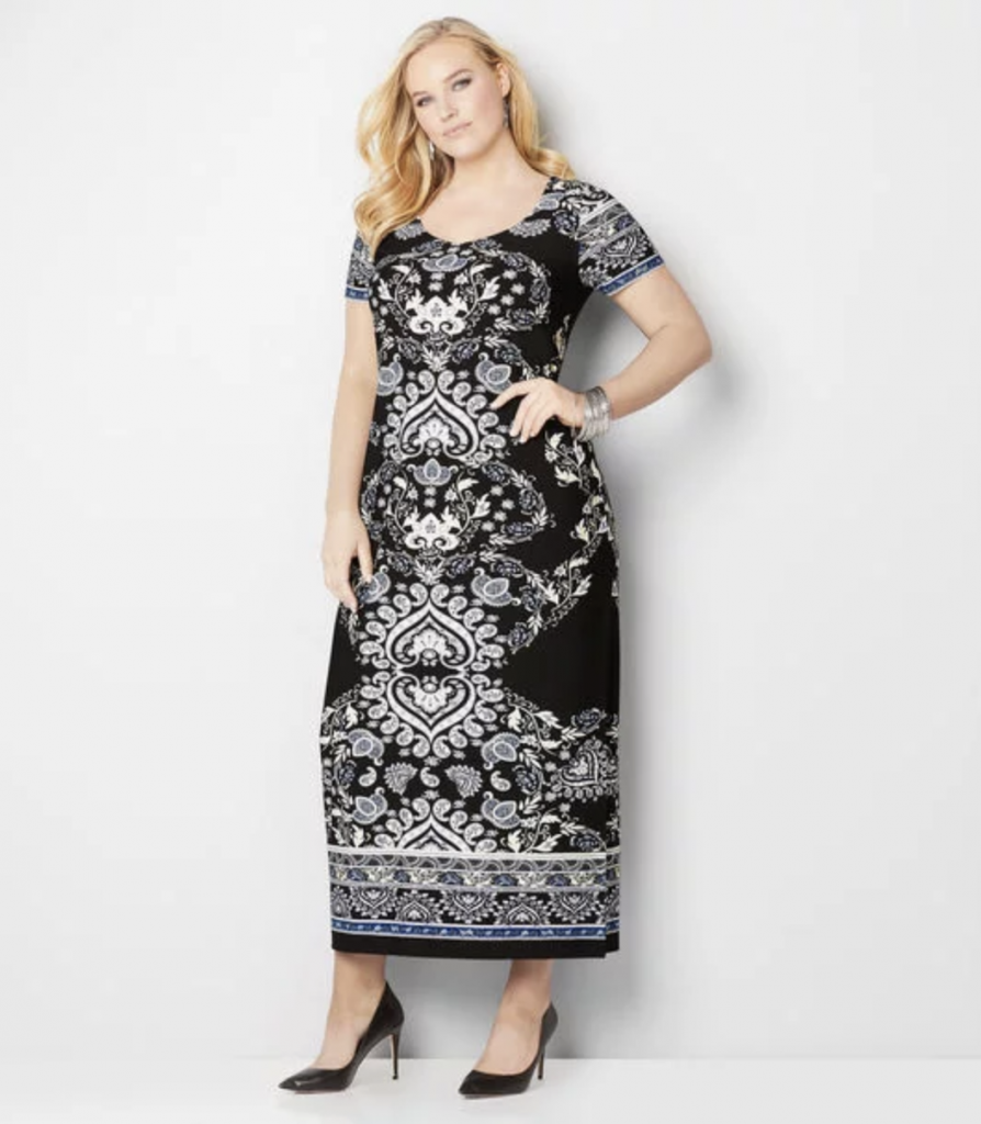 Plus size paisley design maxi dress
