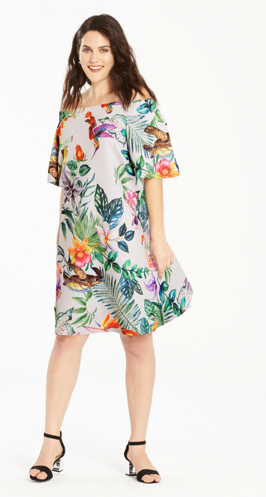 IVORY PRINT BARDOT SCUBA DRESS