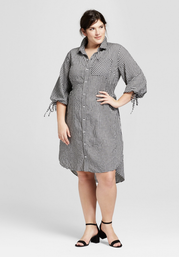 Plus Size Gingham Long Sleeve Shirtdress