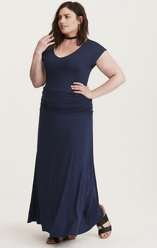 Shirred Plus Size Maxi Dress
