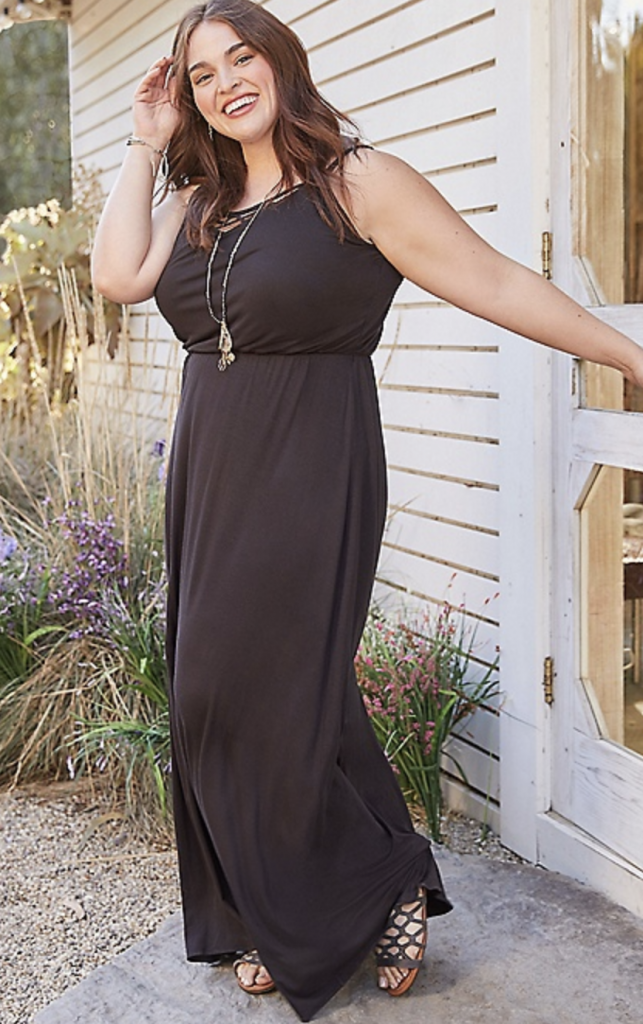 plus size 24/7 maxi dress with strappy neckline