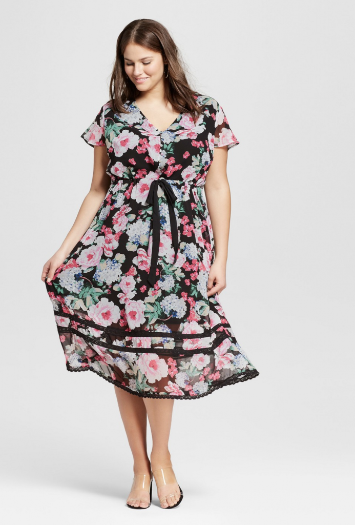Plus Size Floral Print Short Sleeve Lace Trim Midi Dress