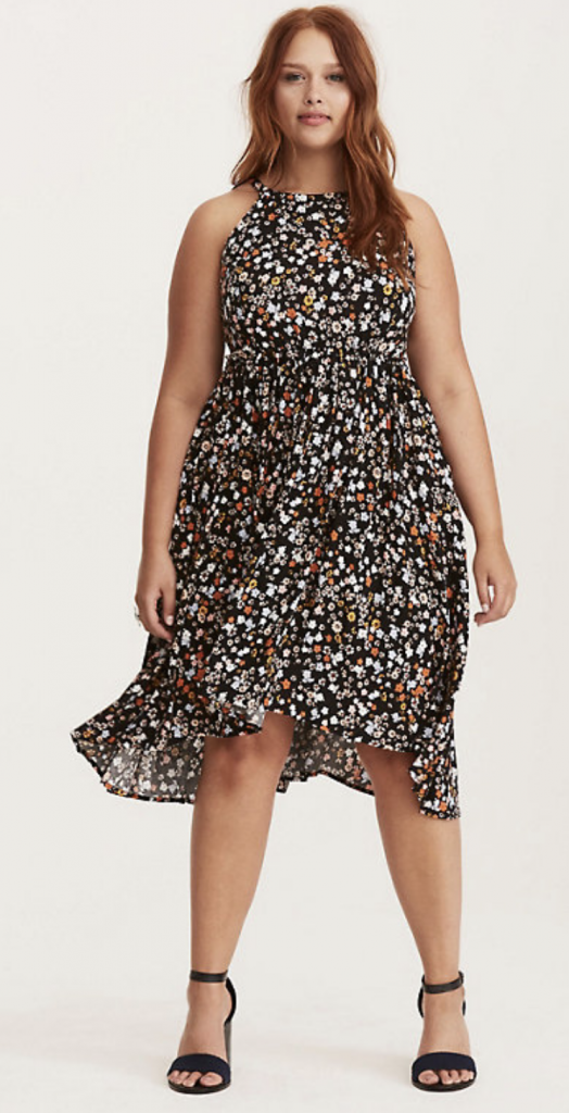 Floral Print High Neck Challis Hi-Lo Dress