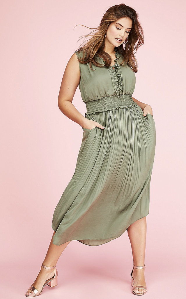 LACE-UP MAXI DRESS WITH SMOCKED WAIST