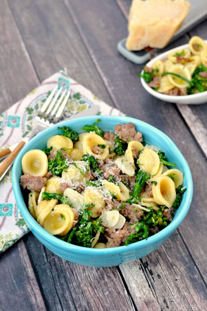 Sausage Parmesan Pasta with Broccolini recipe with 6 ingredients or less