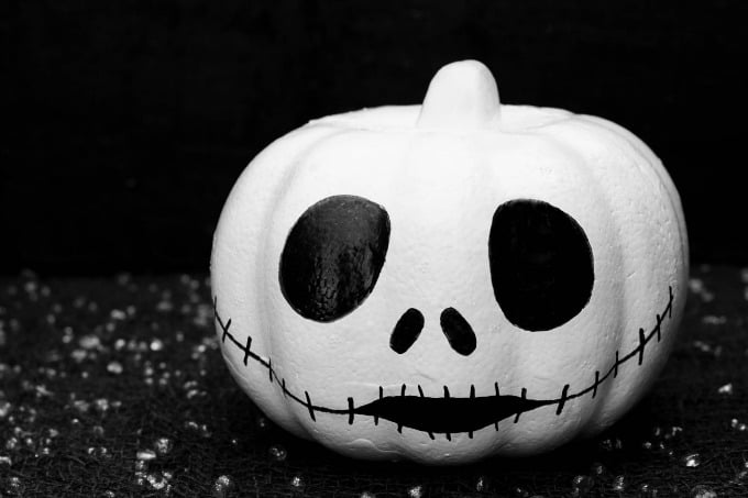 Jack Skellington themed pumpkin