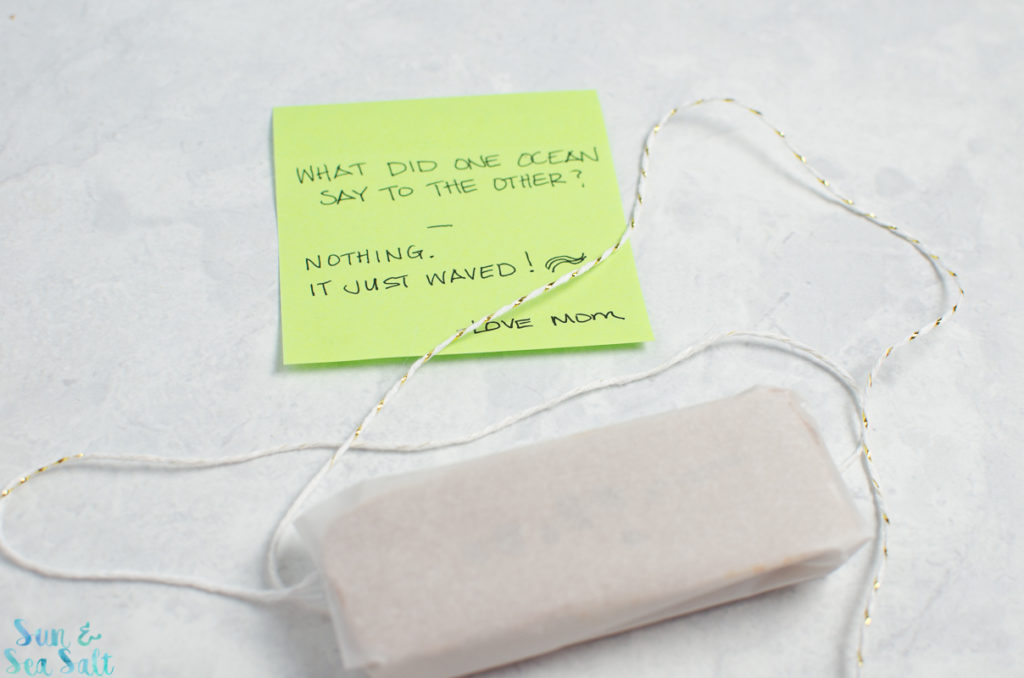Jokes are easy, but making friends is hard. I get it. So I like to wrap one of her favorite snacks - Jif Power Ups® Snacks - in parchment and include a little note with a joke of the day.