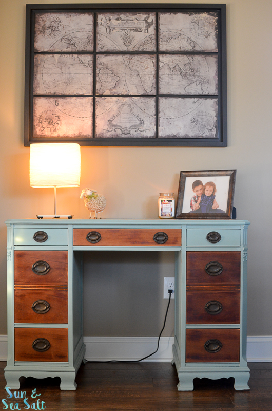 Annie Sloan Chalk Paint in Duck Egg Blue finished with Annie Sloan Clear Wax on paint and veneer drawers.