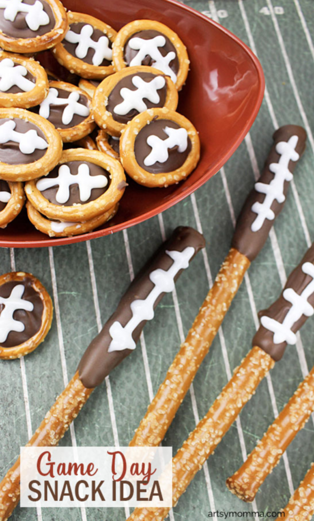 For more dessert-like Super Bowl snacks, try these Football-inspired Chocolate Sipped Pretzels