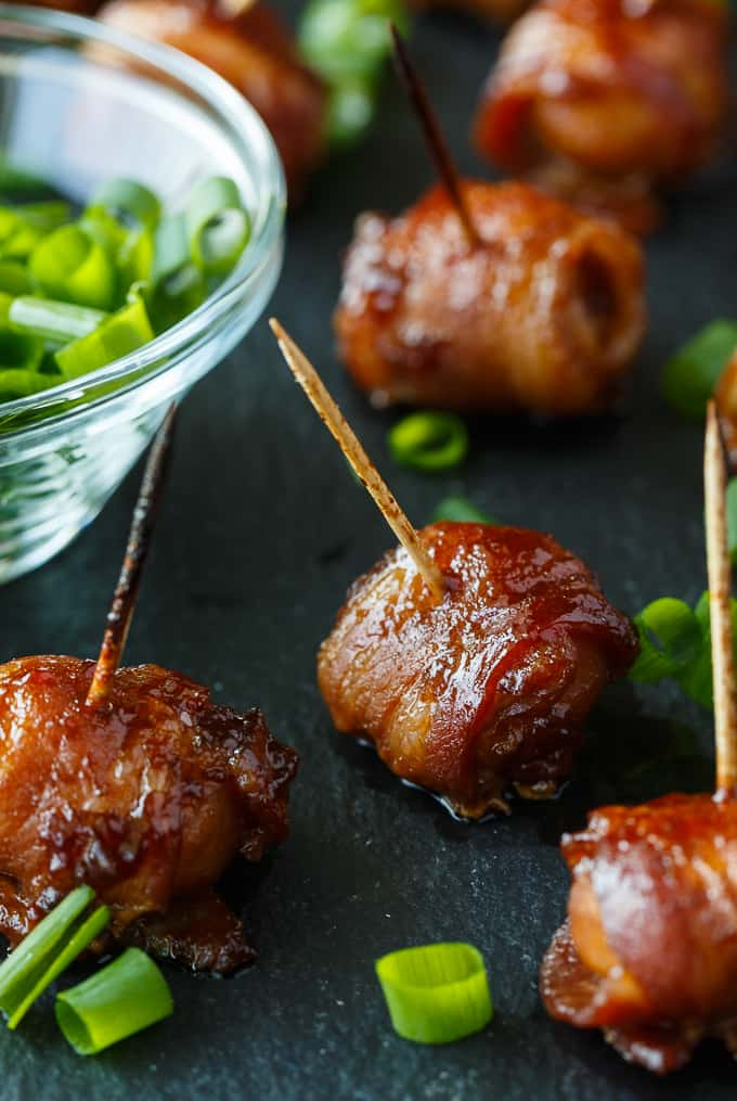 Bacon Wrapped Water Chestnuts are perfect for Super Bowl Snacks